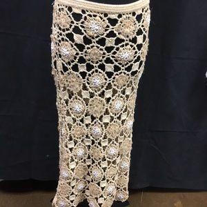 Moschino crocheted skirt 6 Tan Long Flowered Italy